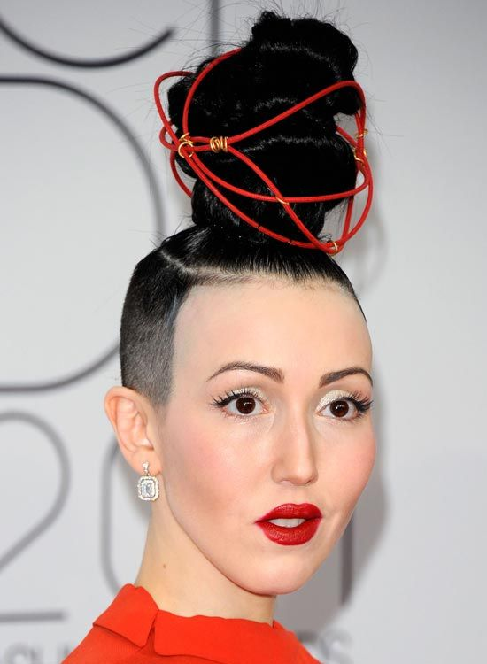 Bald Hairstyles - Super High Topknot with Shaved Sides