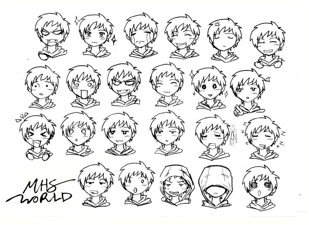 Anime chibi face expressions boy mhs sketching world