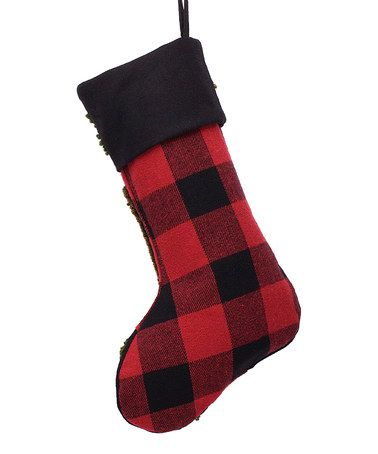 Another great find on #zulily! Red Plaid & Black Bear Hooked Stocking #zulilyfinds