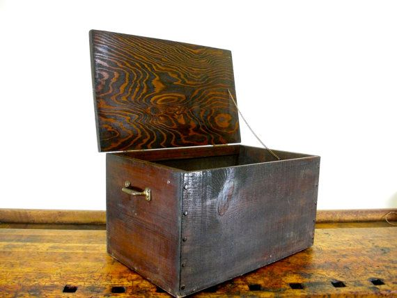 Large Vintage Wood Box, Handmade, One Of A Kind, Wooden Box, Wood