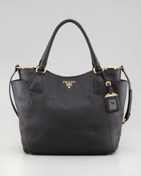 8bb8edb1e7f6 Prada Daino Double-Pocket Tote Bag, Black on shopstyle.com | Stuff I ...
