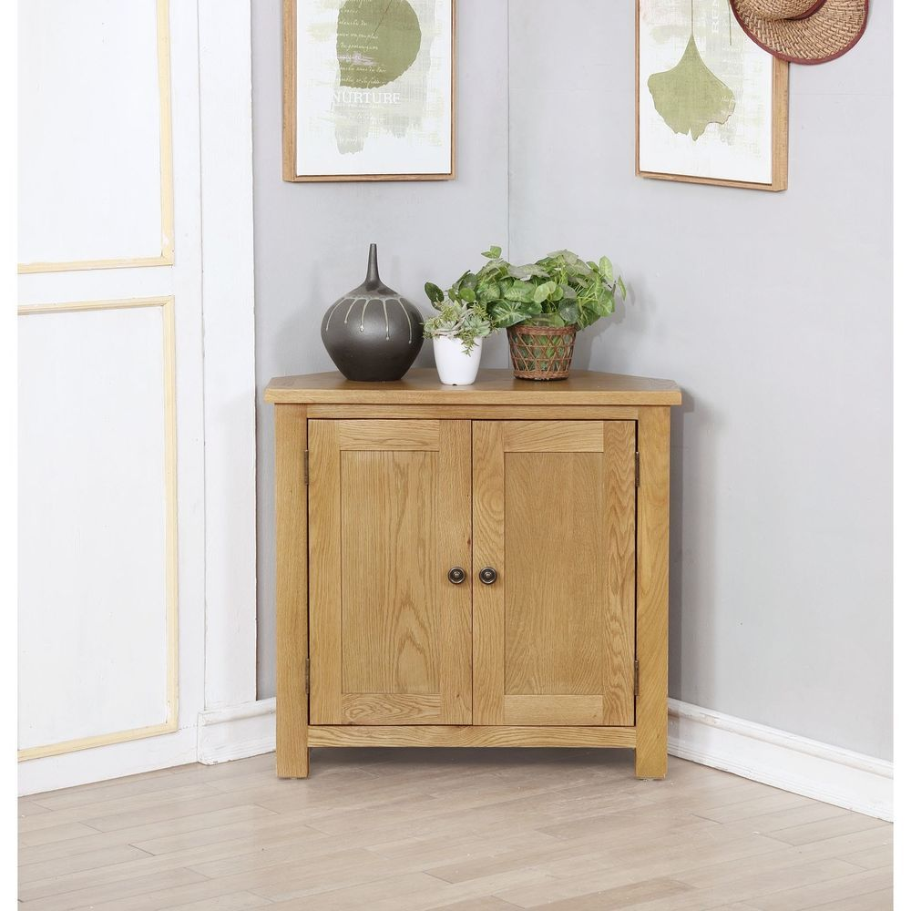 solid oak corner storage shoe cupboard brown color hallway entryway furniture