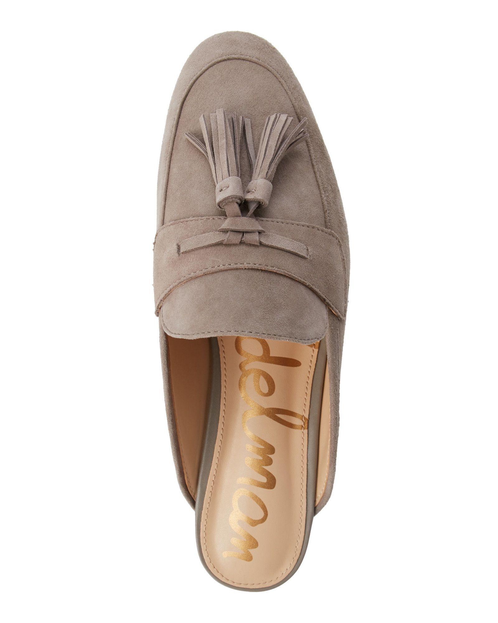6604e288a890c1 Century 21 - sam edelman Putty Paris Suede Tasseled Loafer Mules ...