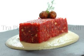 Photo of Beef tartare with hazelnuts, ginger and thyme, with cream of …