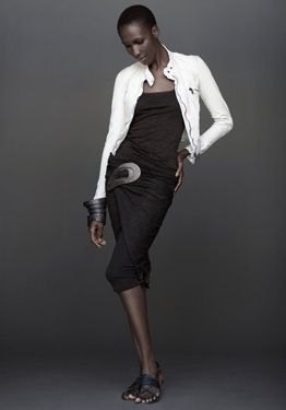 Cami top (OD clove - $325) Suede zip collar jacket (Tusk - $2195) Draped element skit (OD clove - $695)