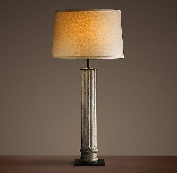 19th C. Zinc Column Table Lamp. Restoration Hardware.