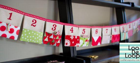 Advent Calendar Bunting by LooDeLoop on Etsy