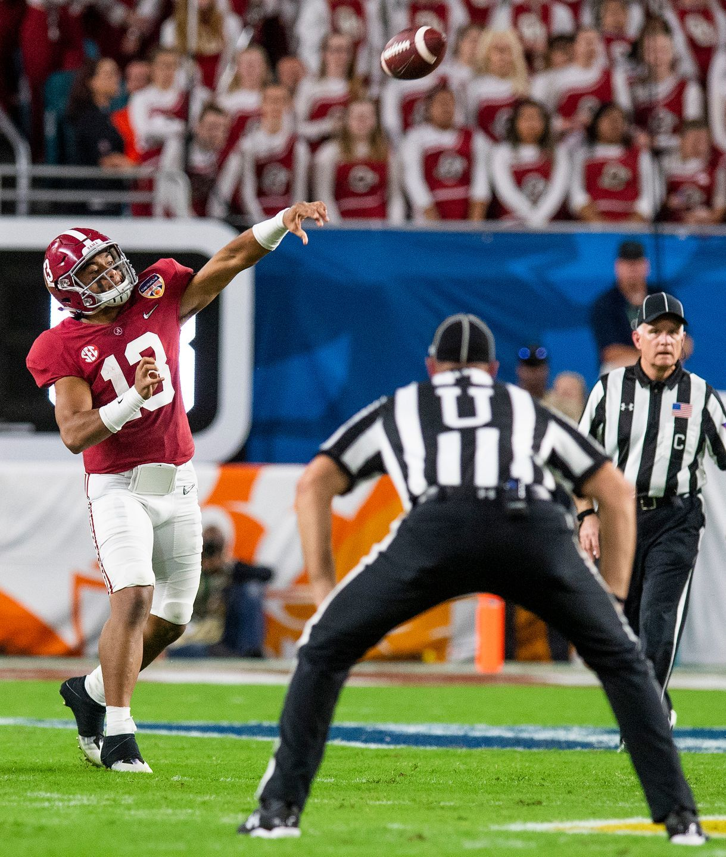 Alabama Quarterback Tua Tagovailoa 13 Throws In First Half Action Of The Orange Bowl At Hard Rock Crimson Tide Football Alabama Crimson Tide Football Alabama