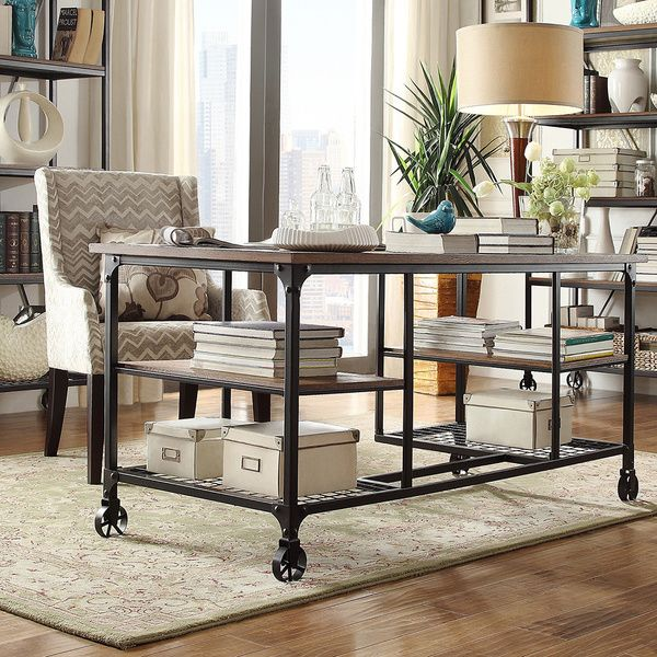 Overstocked Furniture: TRIBECCA HOME Nelson Industrial Modern Rustic Storage Desk