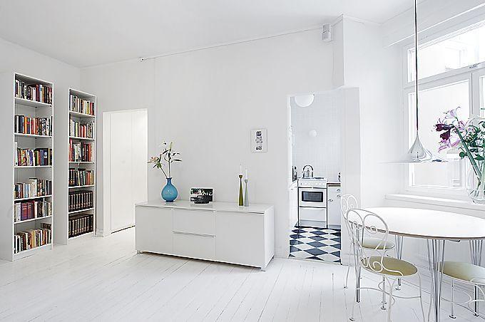 Clean White Small Apartment Interior Design with Fachadas