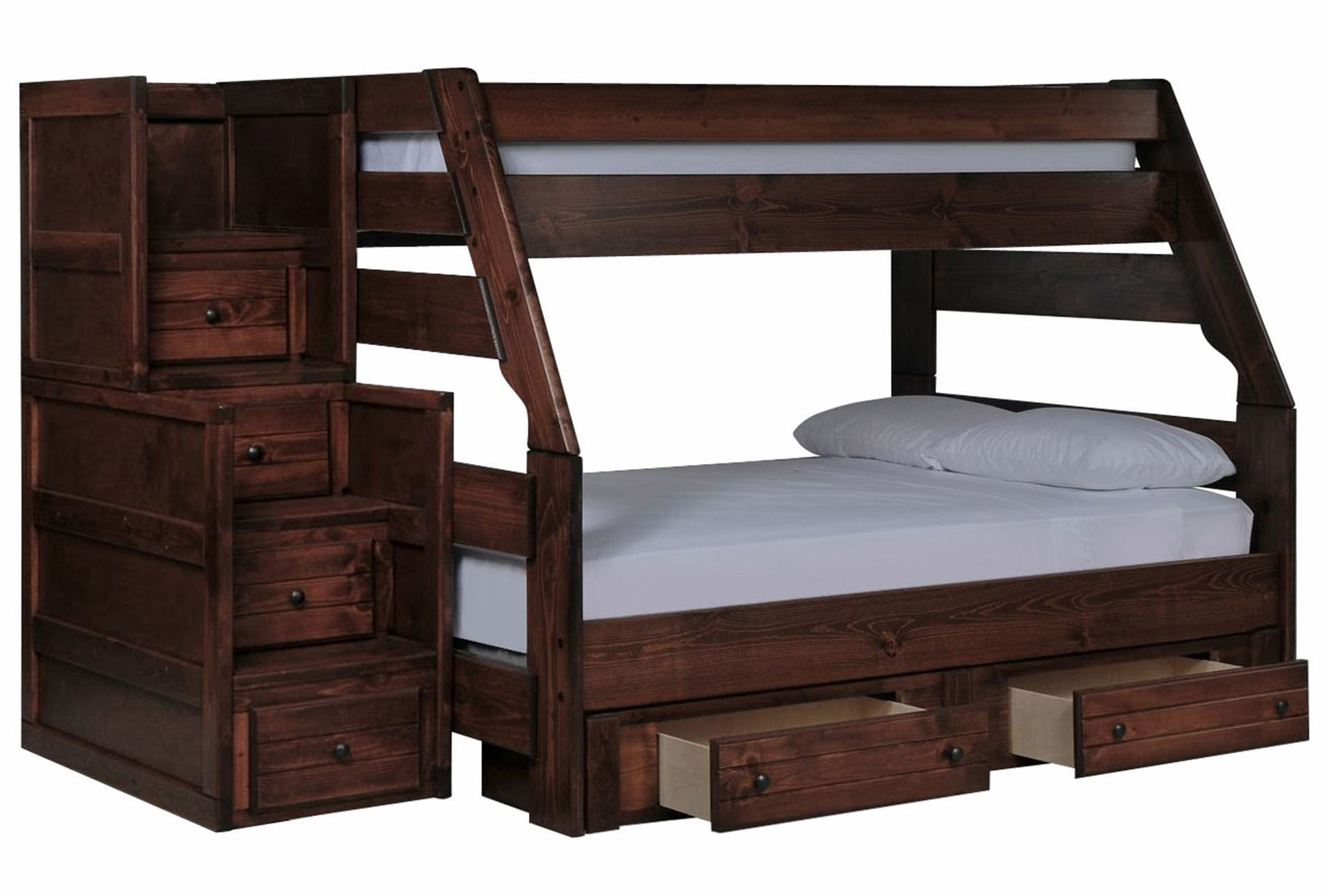 Loft bed with desk queen  Sedona TwinFull Bunk W Drawer Storage Unit u Stair Chest