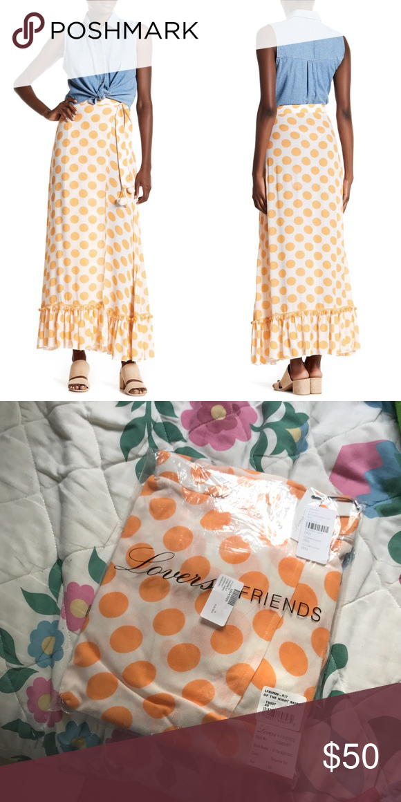 """91ddce25468a59 NWT Lovers & Friends Polka Dot Maxi Skirt New with tags Lovers & Friends  """"Of the night polka dot pompom skirt"""" Tangerine dot Size XS Lovers + Friends  Skirts ..."""