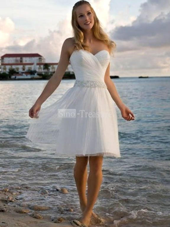 White Sweetheart Ruffle Beads Satin Chiffon Short Beach Wedding
