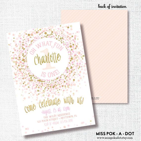 Oh what fun first birthday invitation pink and gold glitter pink gold confetti oh what fun first birthday invitation pink and gold glitter champagne blush confetti birthday party invitation invite filmwisefo