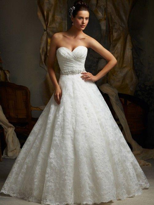 Princesa escote corazón cola corte organdí vestido boda con bordado ...