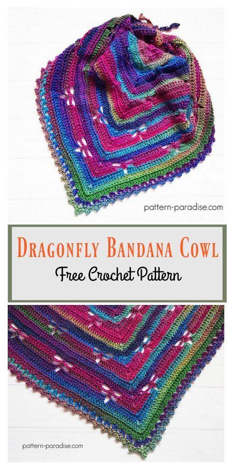 Dragonfly Bandana Cowl Free Crochet Pattern Free Crochet Bandanas