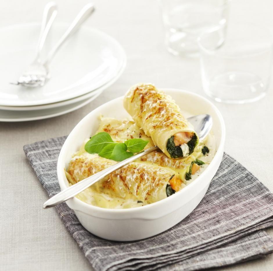Cannellonis saumon, épinards, chèvre, citron et thym