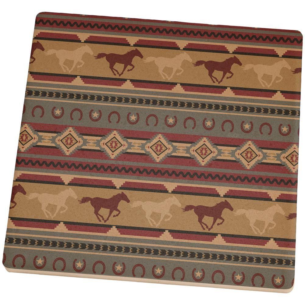 Southwestern Wild Horses Pattern Set of 4 Square Sandstone Coasters