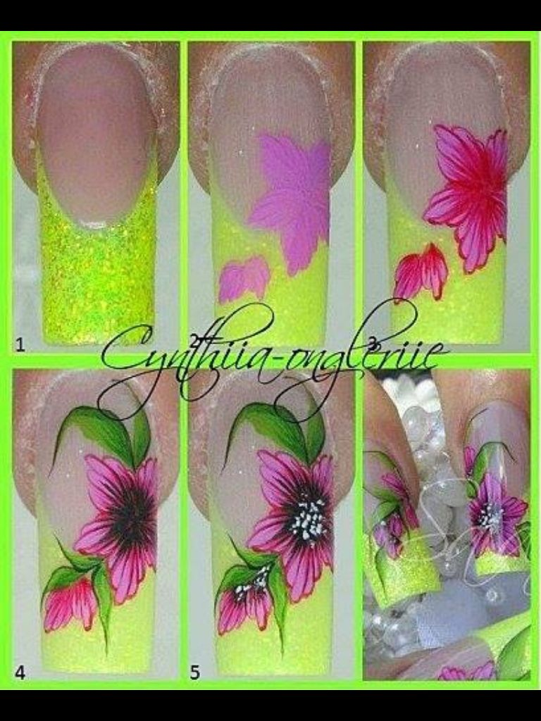 Flowers on glitter tips nails (pic only, no link) | Nailed it ...