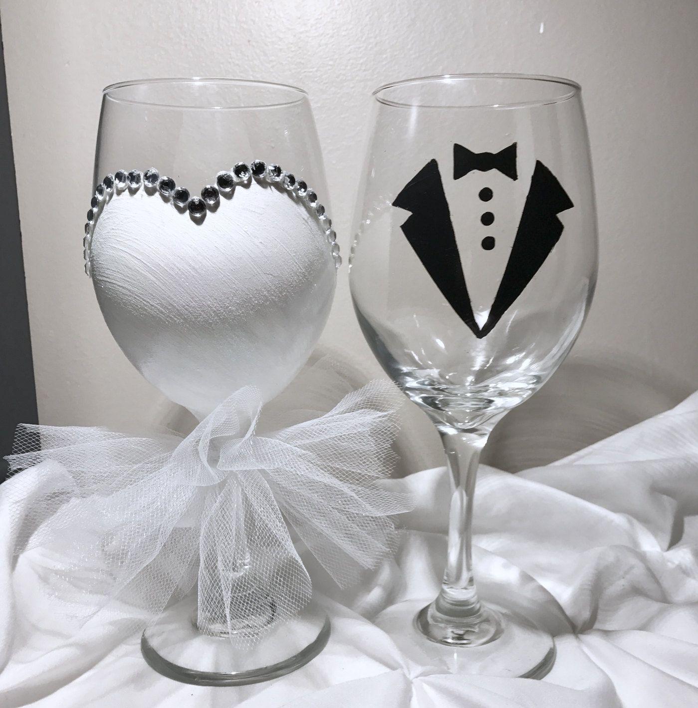 Bride wine glass. Hand painted wine glass. Wedding wine glasses ...