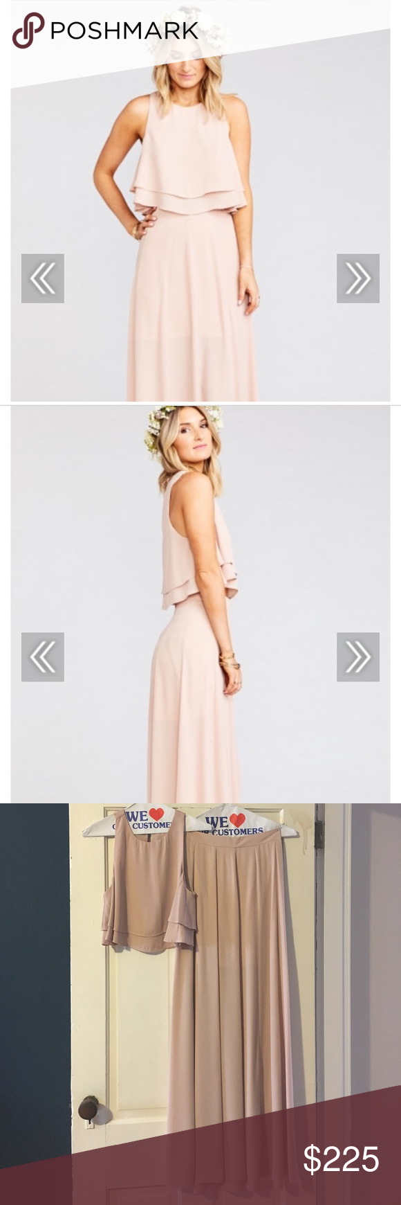 6f9e3ece0a3 Show Me Your MuMu two piece Bridesmaid Dress Dusty blush crisp King crop top  & Ariel ball gown maxi skirt. Wore this once in a wedding and had it dry ...