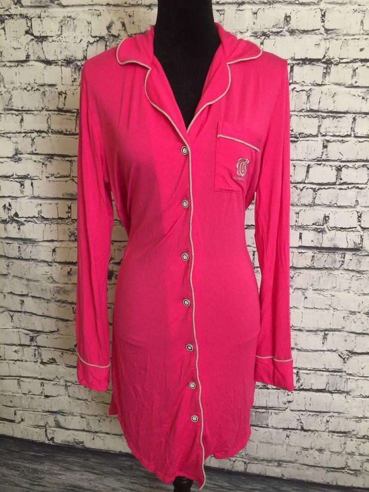 8d58bd04bd Women Nora Twips Pink Long Sleeve Gray Trim Pajama Sleep Night Lounge Shirt  S  NoraTwips