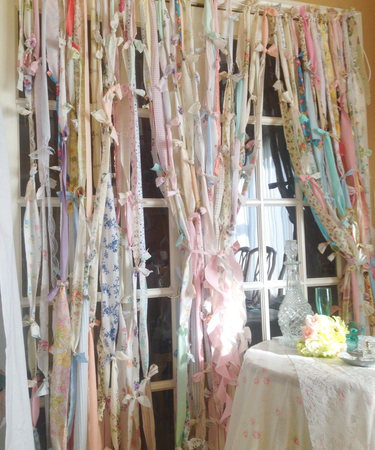 Boho window curtains - Rag Curtains Boho Garland Rustic Boho Curtain Shabby Chic Curtain Ribbon Curtain Wedding Decor Gypsyville 7