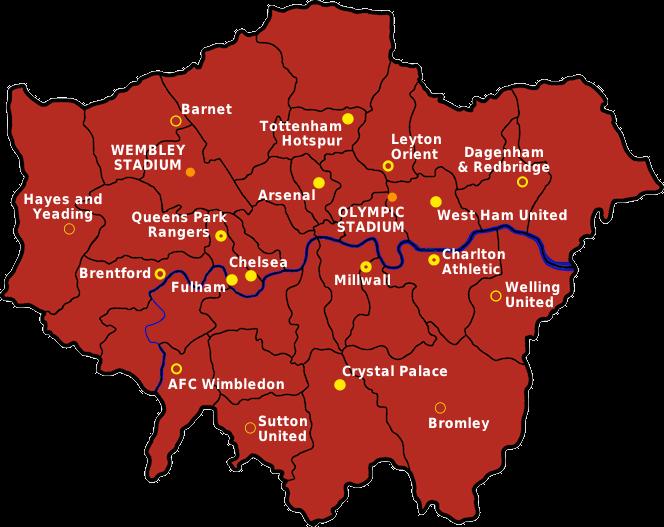 Map Of London Soccer Teams.London Football Map 2013 14 Focis London Football London Map