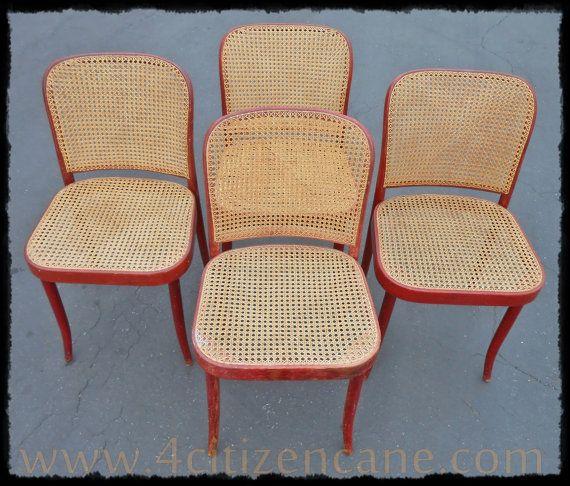 Four Orginal Stendig Thonet Bentwood Cane Chairs No 811
