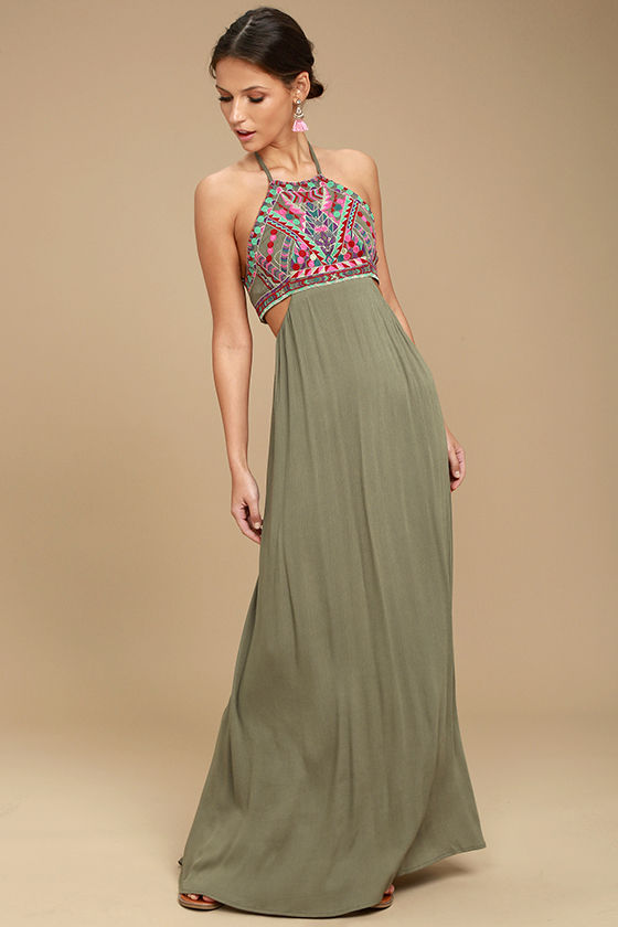 139746a1420a2 Lulus | Little Beach Olive Green Embroidered Maxi Dress | Size Large ...