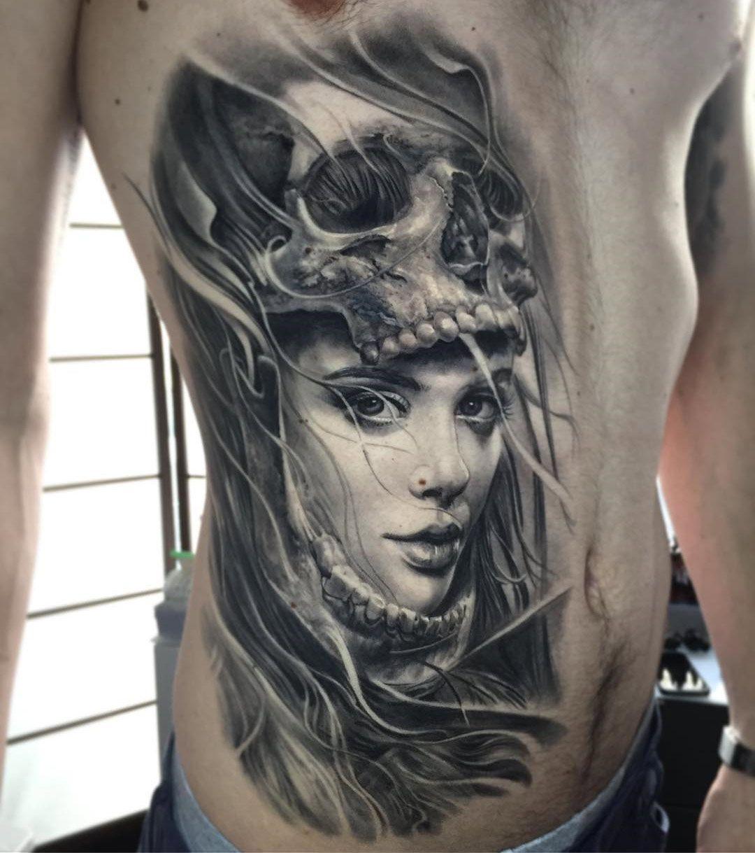 Skull & Portrait Mens side tattoos, Headdress tattoo