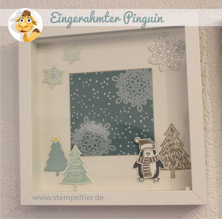 Ein(gerahmter) Pinguin im Schnee | Penguins, Shadow box and Box