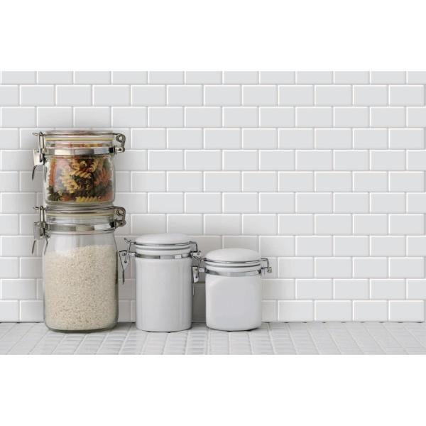 Longking White Vinyl Subway Peel And Stick Decorative Wall Tile Backsplash