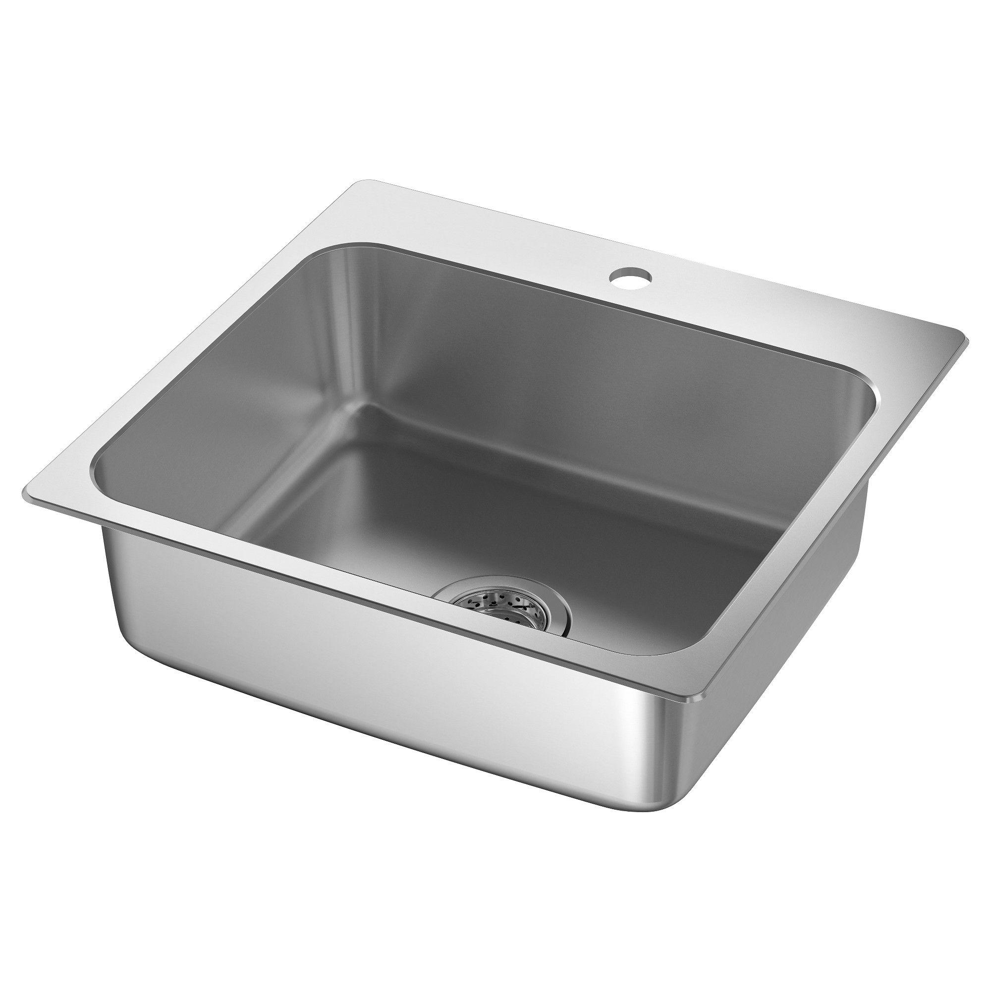 "LÅNGUDDEN Sink stainless steel 22x20 5/8 "" Inset sink"
