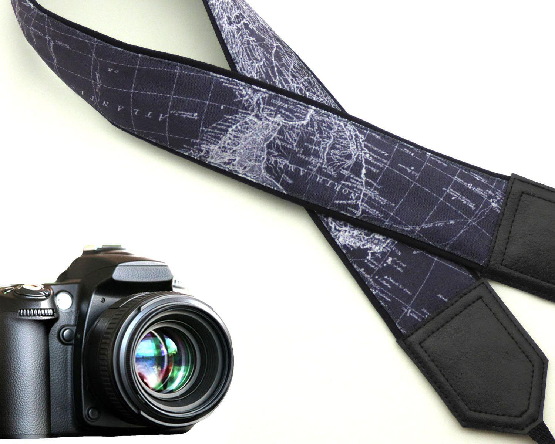 Grey DSLR Camera Strap. World Map Camera Strap. Camera accessories ...