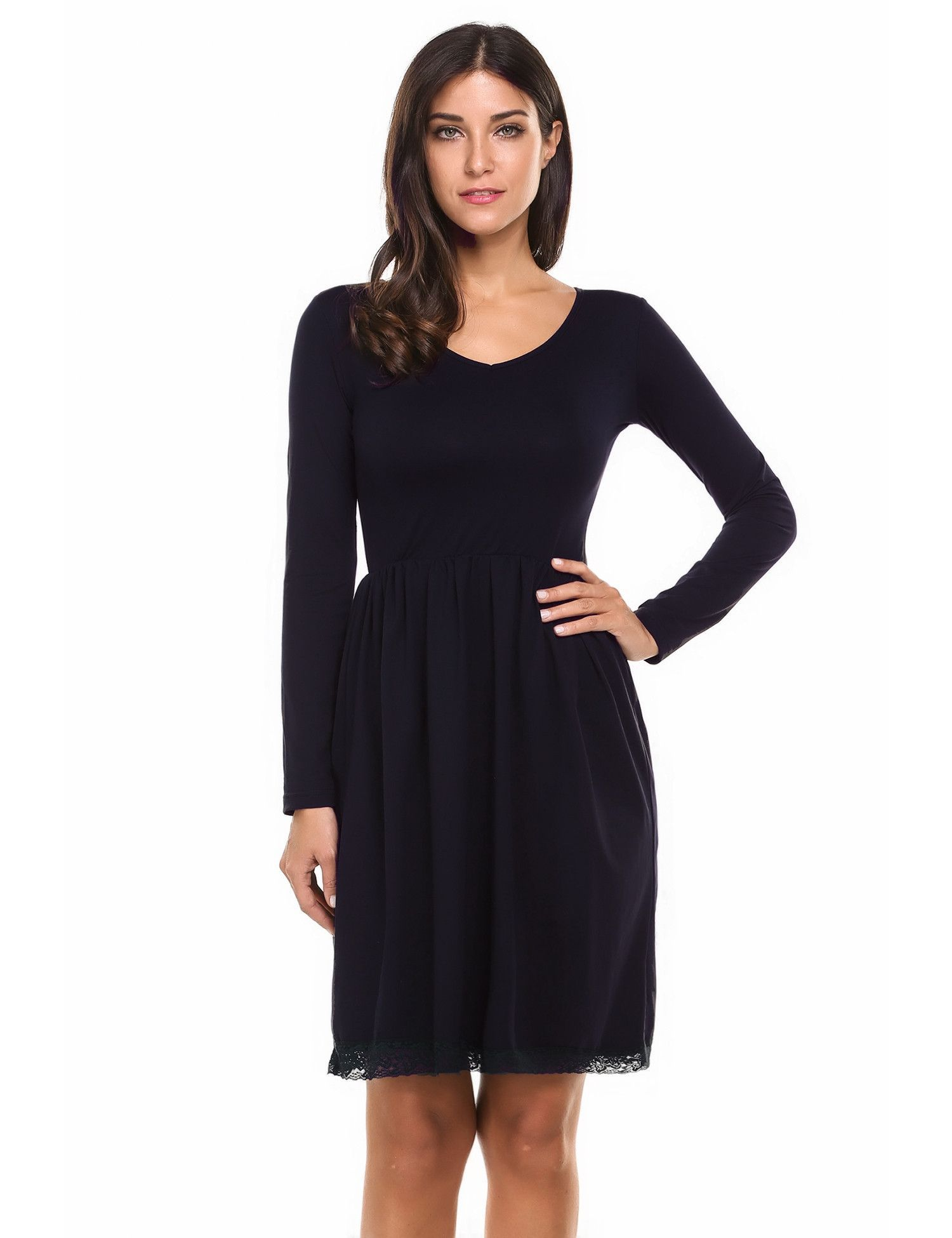 Red vneck long sleeve lace trim solid casual dress products