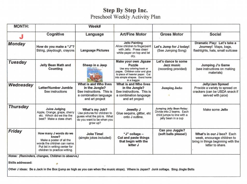 activity programme template - emergent curriculum preschool lesson plan template