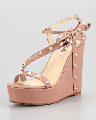5f065be0fffc Valentino Rockstud Bow Wedge Platform Sandal