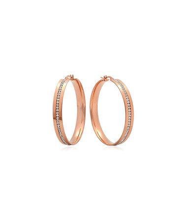 Look what I found on #zulily! Rose Gold Simulated Diamond Hoop Earrings #zulilyfinds