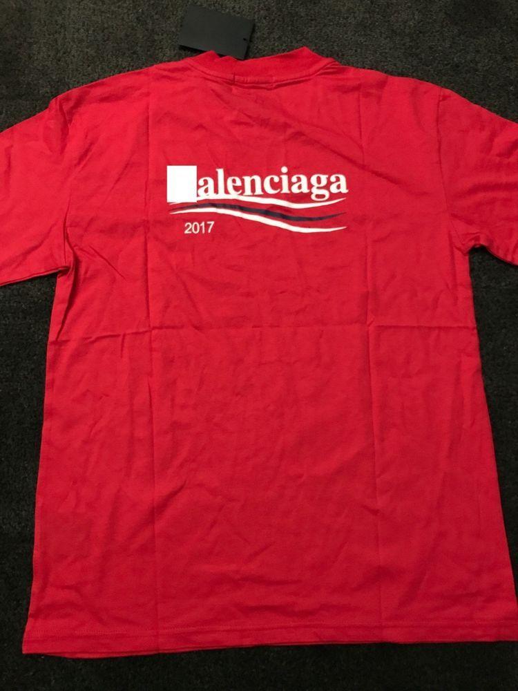 48024c504a4b 2018 popular brand NEW BB campaign sanders stripes shirt Tee red blue  balenciaga #fashion #clothing #shoes #accessories #mensclothing #shirts