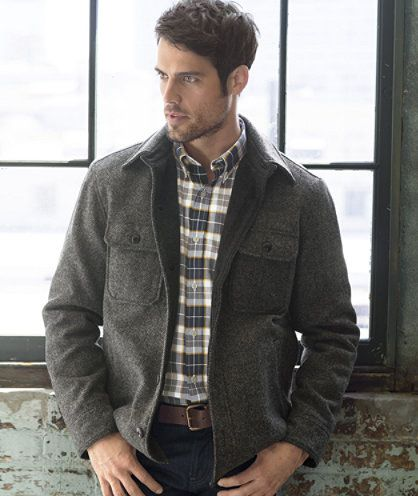 Lined Wool-Blend Shirt Jacket, Herringbone: SHIRTS | Free Shipping ...