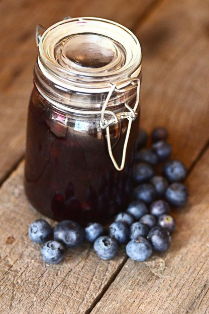 Homemade blueberry sauce made with frozen wild blueberries. Amazing on pancakes, ice cream, Greek yogurt.