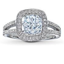 Jared Scott Kay 14K White Gold 1/3 Carat t.w. Diamond Ring Setting.  This stylish ring setting features round diamonds in a frame around the center with two rows of diamonds detailing the band. One-third carat total weight. Crafted in 14K white gold