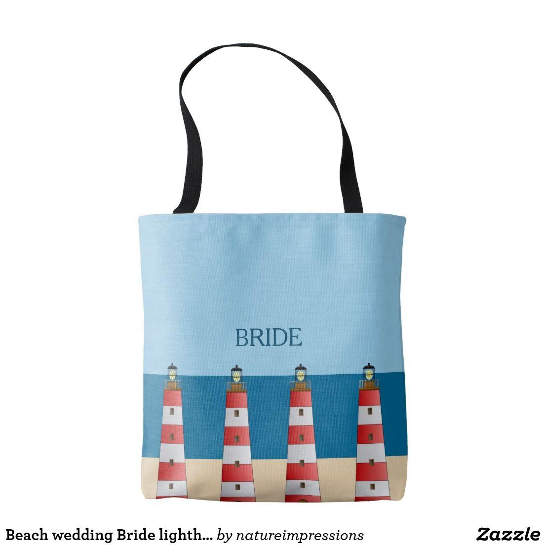 Beach wedding Bride lighthouses sand sea sky Tote Bag