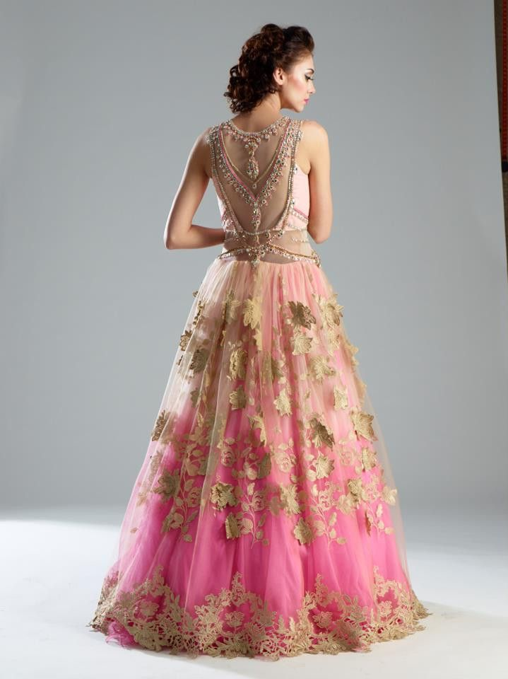 36f5515f10 This Indo Western gown is in net and Satin fabric. Upper layer of net is of  baby pink color and inner layer is of pure satin double shaded pink color.