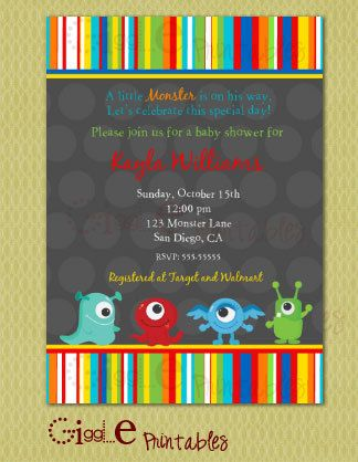 Monster Baby Shower Invitation Free Thank You Card Included Baby