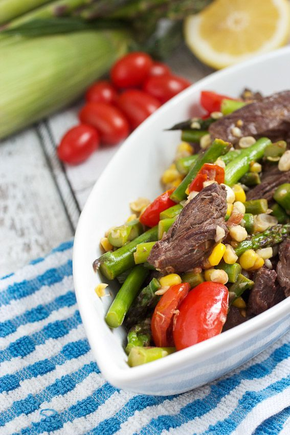Steak Stir Fry with Asparagus, Corn and Tomatoes #SummerStirFry from The Girl In The Little Red Kitchen