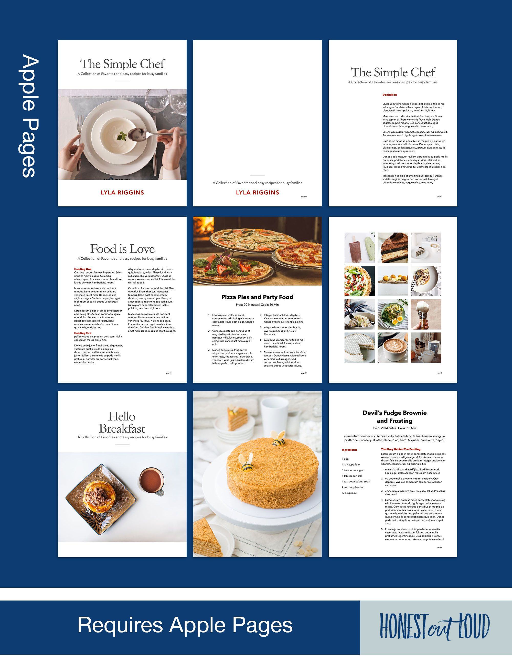 Cookbook And Recipe Template For Apple Pages Classic Clean Etsy Simple Cookbook Recipe Template Recipes