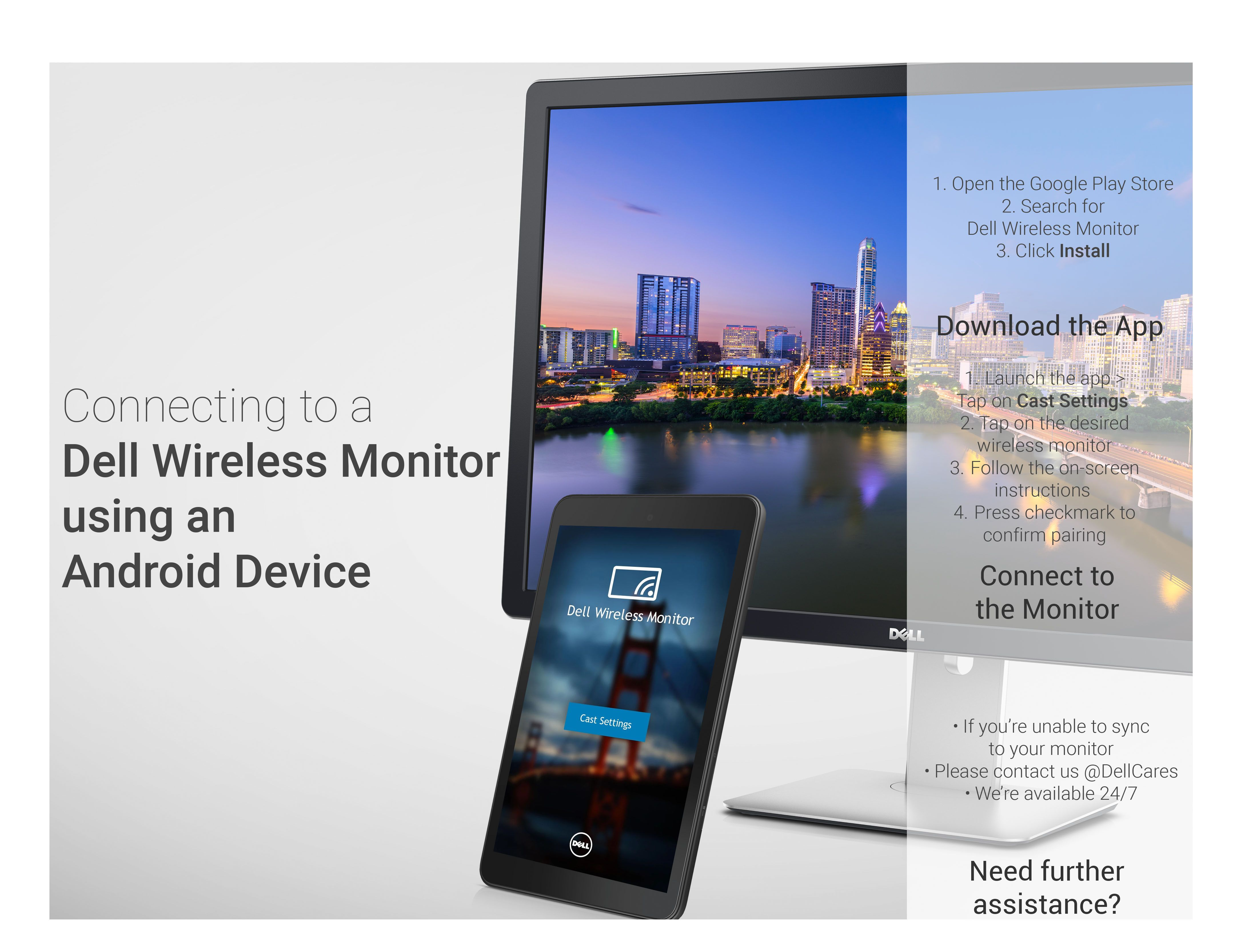 Connect Android Devices to Dell Wireless Monitor Need more