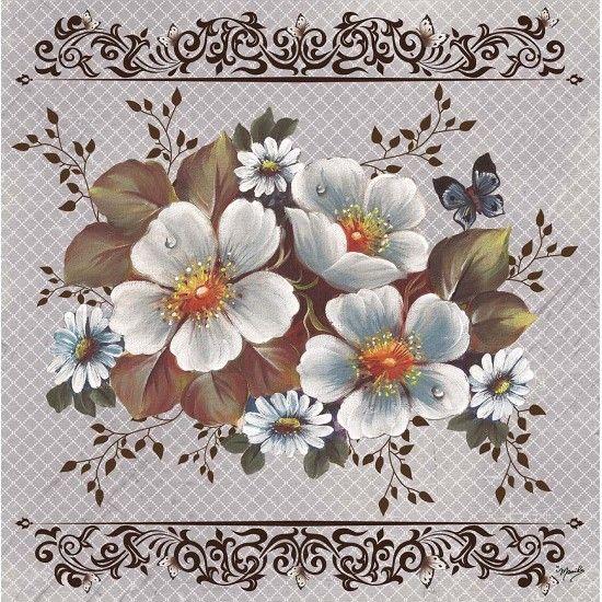 Guardanapo decoupage rosas silvestres brancas 2un gbm036 - Pintura para decoupage ...